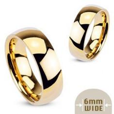 Inel auriu din metal - verighetă netedă şi lucioasă - Marime inel: 54