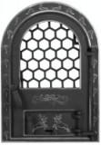 Cumpara ieftin Usa Semineu cu Geam Cerbi Ornamente Argintii Mare / H[mm]: 610; B[mm]: 425, Evotools
