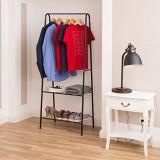 Suport haine cu 2 rafturi SANDRA-negru