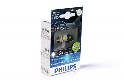 Bec Led C5W 12V 1W / 4000K ( Lumina Alba. 43 Mm ). X-Treme Vision Philips foto