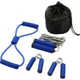 Set 4 accesorii fitness, Everestus, 9IA19039, Poliester, Albastru, saculet sport inclus