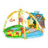 Covoras loc de joaca educativ pentru copii, cu casuta, 5 jucarii si 30 bile multicolor, 95x45cm, Ecotoys