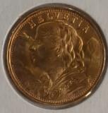 Moneda aur fin, 20 Fr Elvetia anul 1935 UNC, Europa