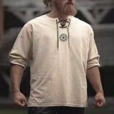 Bluza vintage pentru barbati, cu maneci lungi, bluza din amestec de bumbac ?i in cu broderie