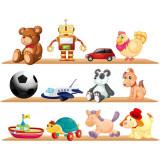Sticker perete copii Raft cu jucarii 80 x 61 cm