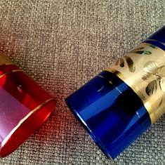 Pahare Bohemia sticla facuta manual decorata foita aur set vin vechi vintage