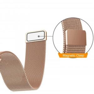 Curea ceas Smartwatch Samsung Gear S3 Rose Gold Milanese Loop, iUni 22 mm Otel Inoxidabil