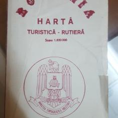 România, Hartă color, Turistică-Rutieră, Circa 1985