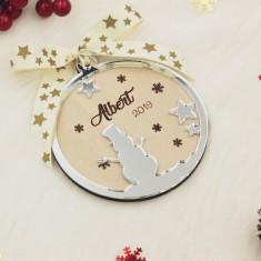 Ornament Brad Lemn si Oglinda Acrilica - Personalizat - Om de Zapada