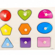 Tabla din lemn cu forme geometrice, puzzle colorat - Jucarie educativa
