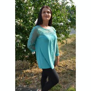 Bluza eleganta, de ocazie, culoare turcoaz cu insertii de strasuri