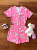 Cumpara ieftin Pijama dama scurta tip salopeta roz cu nasturi si imprimeu BR