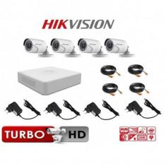 Kit sistem supraveghere video complet 4 camere exterior Hikvision Turbo HD , accesorii full, live internet