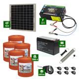 Pachet gard electric cu Panou solar 3,1J putere și 5000m Fir 80Kg cu acumulator
