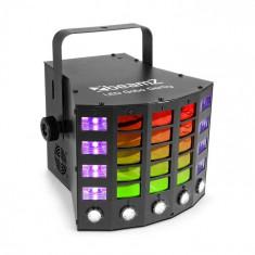 Beamz Gobo Derby, reflector 3-în-1, diode LED RGBAW/UV, 60 W, DMX, operare separată, regim de sunet