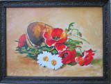 Pictura cos cu flori semnat Cimpoesu