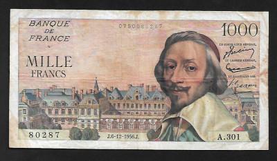 """Franta 1000 francs 1956 """" Richelieu"""" foto"""