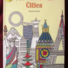 """COLORING in 3D - CITIES. Includes 3D glasses"", Hannah Davies. Carte noua, Alta editura, 2016"