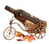 Cumpara ieftin Suport din Metal lucios pentru Sticla de Vin, model bicicleta, Argintiu Negru, capacitate 1 Sticla, H 16 cm L 31 cm