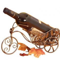 Suport pentru sticla vin model bicicleta metal lucios H 16cm L 31 cm