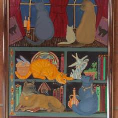 Tablou unicat in ulei , 40x30 cm, cu rama din lemn, Animale, Miniatural
