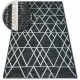 Covor sisal Floorlux 20508 negru si argint Triunghiuri, 60x110 cm