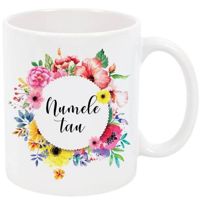 Cana cu nume personalizata, ceramica alba, 325 ml, model flori colorate foto