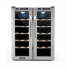 Klarstein SaloonNapa frigider pentru sticle de vin 67 L 2 uși de sticlă 11-18 ° C din oțel inoxidabil
