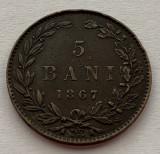 5 Bani 1867 Watt & Co, Romania, XF