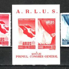 Romania  1945  Primul Congres General   A.L.R.U.S.  serie + colita   MNH
