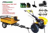 Pachet motocultor Campo 1803, benzina, EURO5, 18CP, 2+1 trepte, remorca 500kg, accesorii, ulei motor si transmisie incluse, Progarden