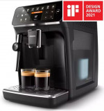 Espressor automat Philips EP4321/50, 5 bauturi, Sistem clasic de spumare a laptelui, Rasnita ceramica, Filtru AquaClean, Negru