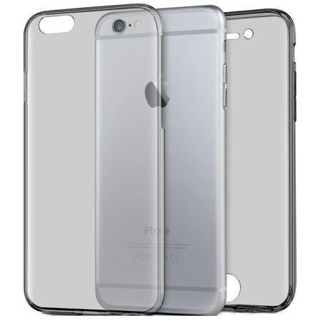 Husa Full TPU 360° fata + spate pentru iPhone 6 Plus / 6S Plus, Gri Transparent