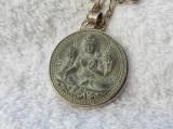 UNICAT BUDHA MEDALION argint VECHI si MASIV de colectie EXCEPTIONAL+ Lant argint