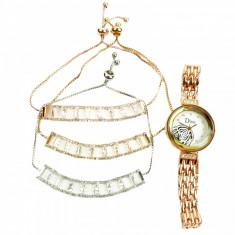 Set de bijuterii cadou format din 3 bratari ceas cu trandafir si cutie cadou