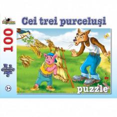 Puzzle 100 piese Cei Trei Purcelusi