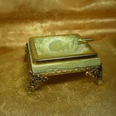 Scrumiera stil Baroc onix, alama placata aur, colectie, cadou, vintage