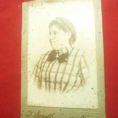 Fotografie veche , pe carton -Femeie ,Foto I.Gerstle Bucuresti ,sf.sec.XIX