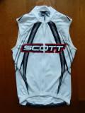 Tricou ciclism Scott. Marime S: 43.5 cm bust, 55 cm lungime pe fata etc.; ca nou