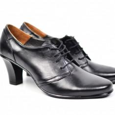 Pantofi de dama eleganti, din piele naturala, de culoare neagra, cu toc de 7 cm - PDT119