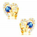 Cercei din aur 585 - contur de inimă cu safir de culoare albastru închis