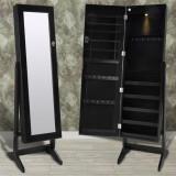 Cumpara ieftin Cabinet negru pentru bijuterii cu suport, oglindă și lampă LED