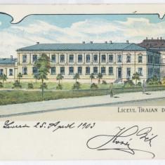 1374 - TURNU SEVERIN, High School, Litho, Romania - old postcard - used - 1898, Circulata, Printata