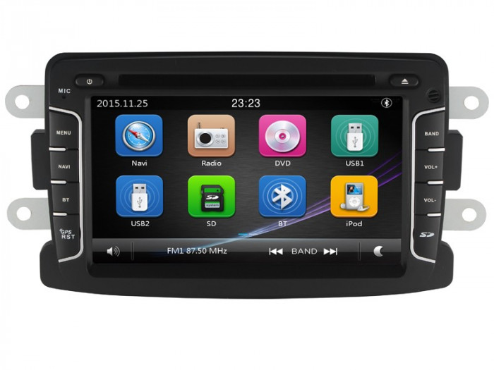 "Unitate Multimedia cu Navigatie GPS, Touchscreen HD 7"" Inch, Windows, Dacia Duster 2012- + Cadou Card Soft si Harti GPS 8Gb"