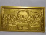 """Tablou sculptat in relief 3D, """"Cina cea de taina"""", lemn masiv fag"""