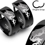 Cumpara ieftin Cercei negri din oțel inoxidabil cu dragon chinezesc