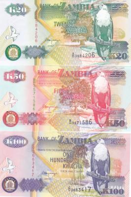Bancnota Zambia 20, 50 si 100 Kwacha 1992 - P36b/37b/38b UNC ( set x3 ) foto