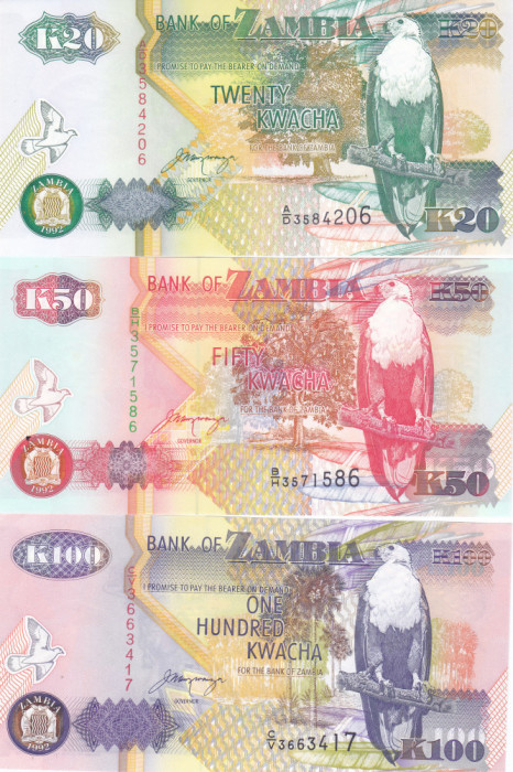Bancnota Zambia 20, 50 si 100 Kwacha 1992 - P36b/37b/38b UNC ( set x3 )
