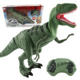 Dinozaur de jucarie cu telecomanda RC, merge, lumineaza, rage, 28 cm