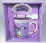 Cana cu lingurita si farfurie, model Lavender, 300ml
